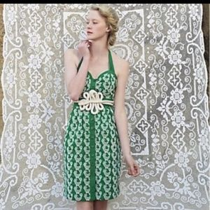 Anthropologie floreat embroidered bird green dress
